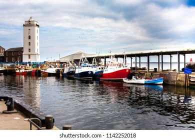 North Shields, Newcastle / England - July 23 2018. Several fishing boats in Fish Quay, North Shields in the North East of England.