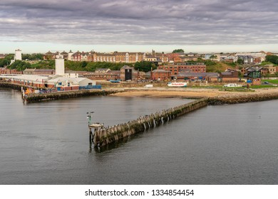 North Shields, Tyne and Wear, England, UK - September 05, 2018: View from the River Tyne at the North Shields Fish Market