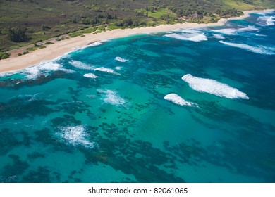 North Shore aerial of Oahu, Hawaii - Makuleia Beach