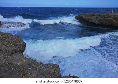 North Shore Curacao Rugged Shore Waves