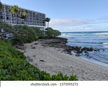 North Shore, Hawaii - March 1, 2019:  Kuilima Cove Beach and Turtle Bay Hotel.