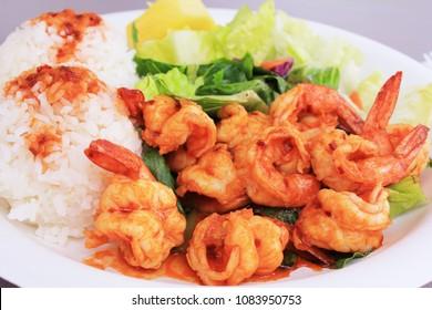 North shore local specialty garlic shrimp, Haleiwa, Oahu, Hawaii.