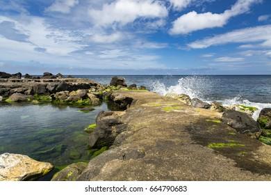 North Shore near Santo Antonio at Sao Miguel Island, Azores archipelago in the Atlantic Ocean, Portugal