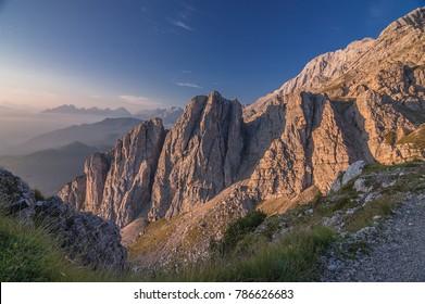North side of Civetta mountain group as seen from A. Sonino refuge at Coldai, stage eight of Alta Via 1 classic trek in the Dolomites, Zolda Alto municipality, province of Belluno, South Tyrol, Italy