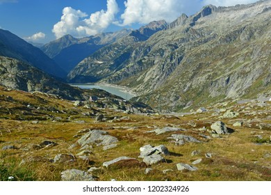 The north side of the Grimsel Pass with the Grimsel Hospice  and the Grimsel Lake in the Bernese Alps, Switzerland
