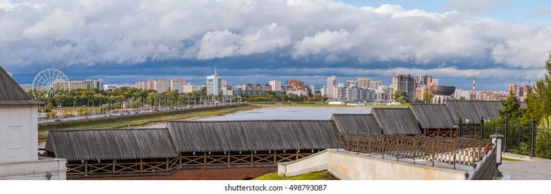 North side of the Kazan city, the north bank of the Kuybyshevskoe reservoir, Tatarstan Republic, Russia.