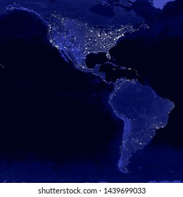 North and South America lights map at night. View from outer space. Elements of this image are furnished by NASA