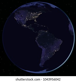 North and South America at night seen from space - Elements of this image furnished by Nasa