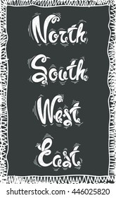 North, south, west, east,  hand drawn letters