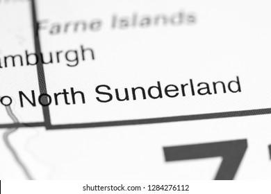 North Sunderland. United Kingdom on a map