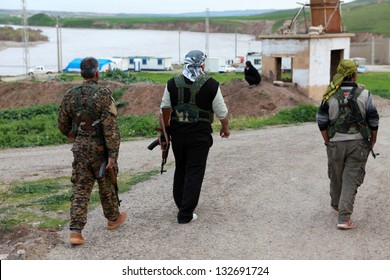 NORTH OF SYRIA- MARCH 19: The The Kurdish soldiers in North of Syria. The Photo Taken, March 19, 2013.