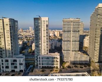 north tel aviv, israel , apartment buildings, surrounded by green space panoramic residential neighborhood of Tel Aviv  skyline