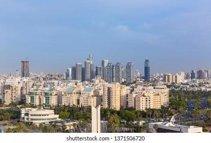 North Tel Aviv Skyline At Sunset,  Tel Aviv Cityscape At Day, Israel
