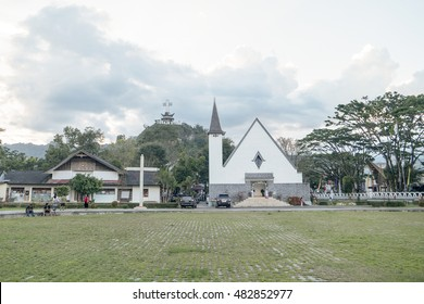 North Toraja, Sulawesi, Indonesia-Aug 26, 2016:Santa Theresia Church in Rantepao during cloudy day. Rantepao is a town and capital of North Toraja Regency. The first church build in Toraja.