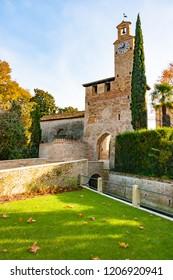 North tower and moat of medieval village in Cordovado, Friuli Venezia-Giulia, Italy