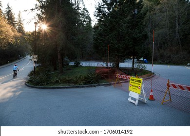NORTH VANCOUVER, BC, CANADA - APR 11, 2020: Closed sign outside local trails amid BC Park closures in response to the Covid 19 pandemic.