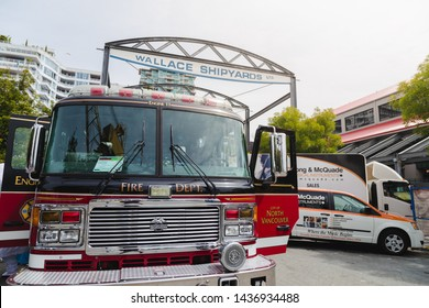 NORTH VANCOUVER, BC, CANADA - JUNE 9, 2019: A North Vancouver city fire truck parked at Lonsdale Quay near the shipyards.