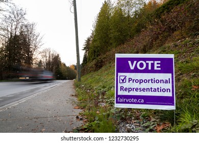 NORTH VANCOUVER, BC, CANADA - NOV 08, 2018: Signage on Dollarton Highway reminding citizen to vote in BC's electoral reform referendum for proportional representation.