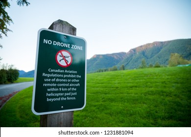 NORTH VANCOUVER, BC, CANADA - OCT 2, 2018: A no drone zone sign near Cleveland Dam.