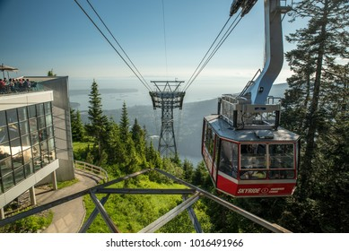 North Vancouver, British Columbia, Canada - June 29, 2016:  Grouse Mountain Skyride at the top.
