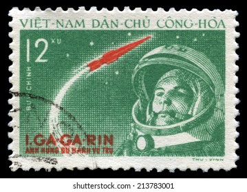 NORTH VIETNAM - CIRCA 1961: A vintage postage stamp from North Vietnam celebrating the achievement of Russian Cosmonaut Yuri Gagarin (the first human to journey into outer space), circa 1961.