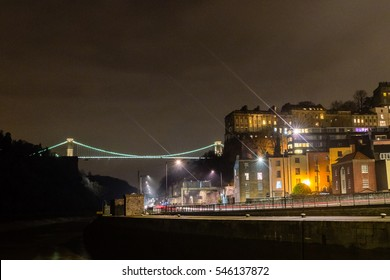 North view of Clifton Suspension Bridge Bristol by night horizontal photography