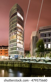 North View at Night on The Eye Building with Valentine Bridge at Bristol England vertical photography
