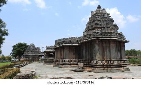 North view of Veera Narayana temple, Belavadi village, Chikkamagaluru district of Karnataka state, India. It was built in 1200 C.E. by Hoysala Empire King Veera Ballala II.