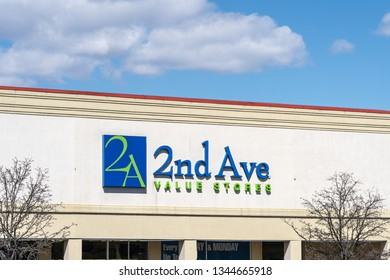 North Wales, PA - March 19, 2019: 2nd Ave Value Stores is a thrift store chain that sells high quality second hand goods which they purchase from charitable organizations.