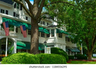NORTH WALES, PA - SEPTEMBER 2, 2018: The William Penn Inn, a former coach stop, has stood for over 300 years in this southeastern Pennsylvania borough and still offers upscale cuisine and lodging.