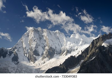 North wall of Grandess Jorasses covered by fresh snow, french Alps, Chamonix, France