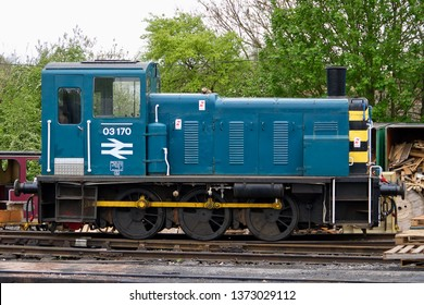 NORTH WEALD, ESSEX, UK - APRIL 27, 2014: Resident ex-BR Class 03 shunter No. 03170 stands in the sidings at North Weald, seen here during Epping Ongar Railway's Diesel Gala.