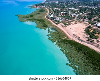 The north west city of Broome in Western Australia offers up some of the most vibrant landscapes in the country. This aerial shows off a stunning red landscape surrounded by amazing turquoise water.