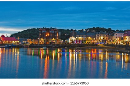 North West Scotland/Town of Oban, Taken  on 11/08/2018 view from Oban walkway along towards town centre of Oban very popular with tourists, Oban Scotland.