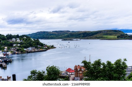 North West Scotland/Town of Oban, Taken  on 11/08/2018 view from Oban walkway  towards Isle of Kerrera ,and  further to Isle of Mull. very popular tourist destination, all  times of the year.