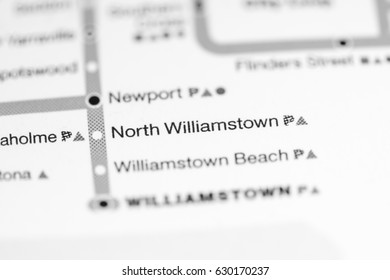 North Williamstown Station. Melbourne Metro map.