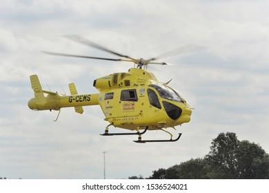 North Yorkshire, England, Britain, September 2010, Yorkshire air ambulance taking off