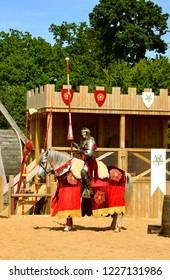 North YorkshireNorth Yorkshire q, Warwickshire, England, United Kingdom - June 24, 2018 : War of the Roses reenactment at Warwick castle
