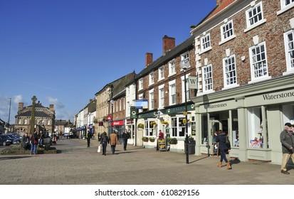 NORTHALLERTON,YORKSHIRE/UK - March 23, 2017. Shops on the High Street, Northallerton, North Yorkshire, England, UK