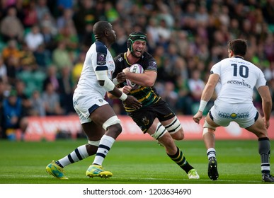 Northampton, UK. 13th October 2018. Dominic Barrow of Northampton Saints during the European Rugby Challenge Cup match between Northampton Saints and ASM Clermont Auvergne