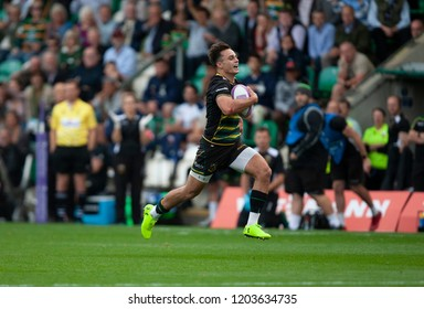 Northampton, UK. 13th October 2018. Tom Collins of Northampton Saints during the European Rugby Challenge Cup match between Northampton Saints and ASM Clermont Auvergne
