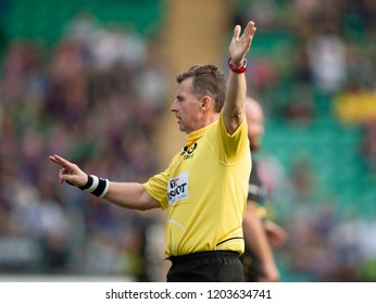 Northampton, UK. 13th October 2018. Referee Nigel Owens during the European Rugby Challenge Cup match between Northampton Saints and ASM Clermont Auvergne