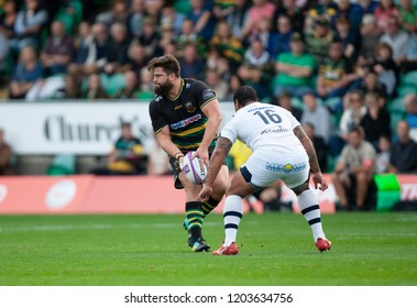 Northampton, UK. 13th October 2018. Francois Van Wyk of Northampton Saints during the European Rugby Challenge Cup match between Northampton Saints and ASM Clermont Auvergne