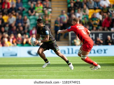 Northampton, UK. 15th September 2018. Ahsee Tuala of Northampton Saints during the Gallagher Premiership round 3 match between Northampton Saints and Saracens at Franklin's Gardens.