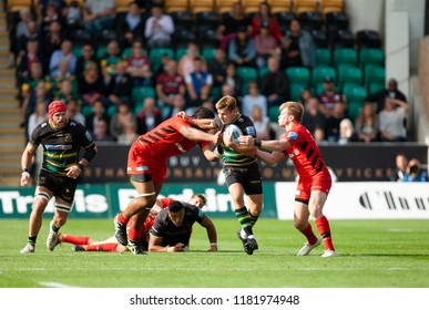 Northampton, UK. 15th September 2018. Piers Francis of Northampton Saints runs with the ball during the Gallagher Premiership match between Northampton Saints and Saracens at Franklin's Gardens.