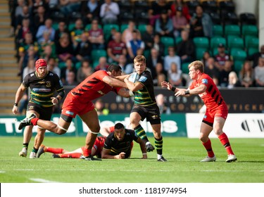 Northampton, UK. 15th September 2018. Piers Francis of Northampton Saints during the Gallagher Premiership round 3 match between Northampton Saints and Saracens at Franklin's Gardens.