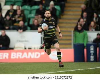 Northampton, UK. 16th February 2019. Cobus Reinach of Northampton Saints crosses the try line during the Gallagher Premiership Rugby match between Northampton Saints and Sale Sharks
