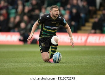 Northampton, UK. 16th February 2019. Dan Biggar of Northampton Saints prepares to kick a conversion during the Gallagher Premiership Rugby match between Northampton Saints and Sale Sharks
