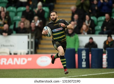 Northampton, UK. 16th February 2019. Cobus Reinach of Northampton Saints scores a try during the Gallagher Premiership Rugby match between Northampton Saints and Sale Sharks