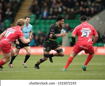 Northampton, UK. 16th February 2019. Lewis Ludlam of Northampton Saints runs with the ball during the Gallagher Premiership Rugby match between Northampton Saints and Sale Sharks